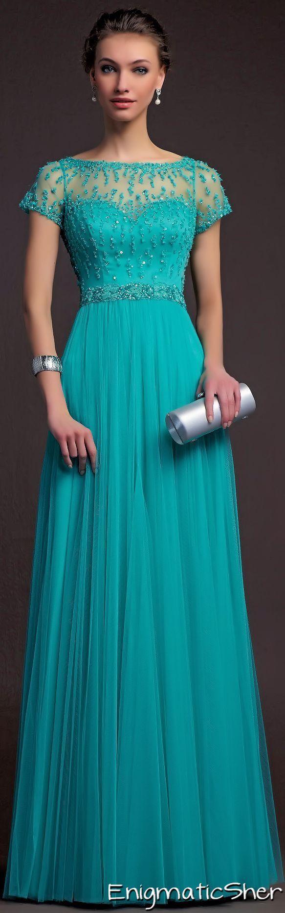 Vestidos de noche color azul turquesa - Modelos De Vestido