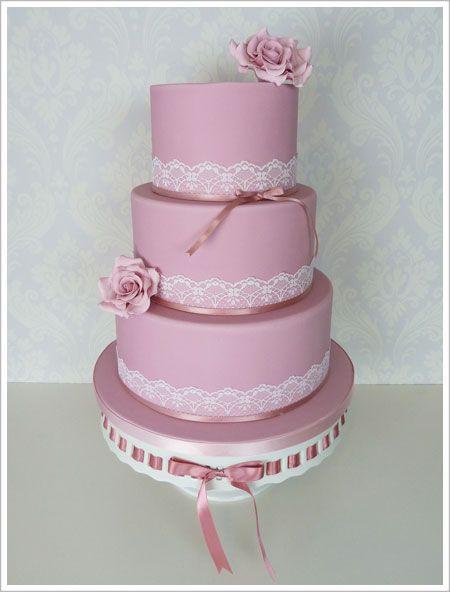 Pink Vintage Lace Wedding Cake