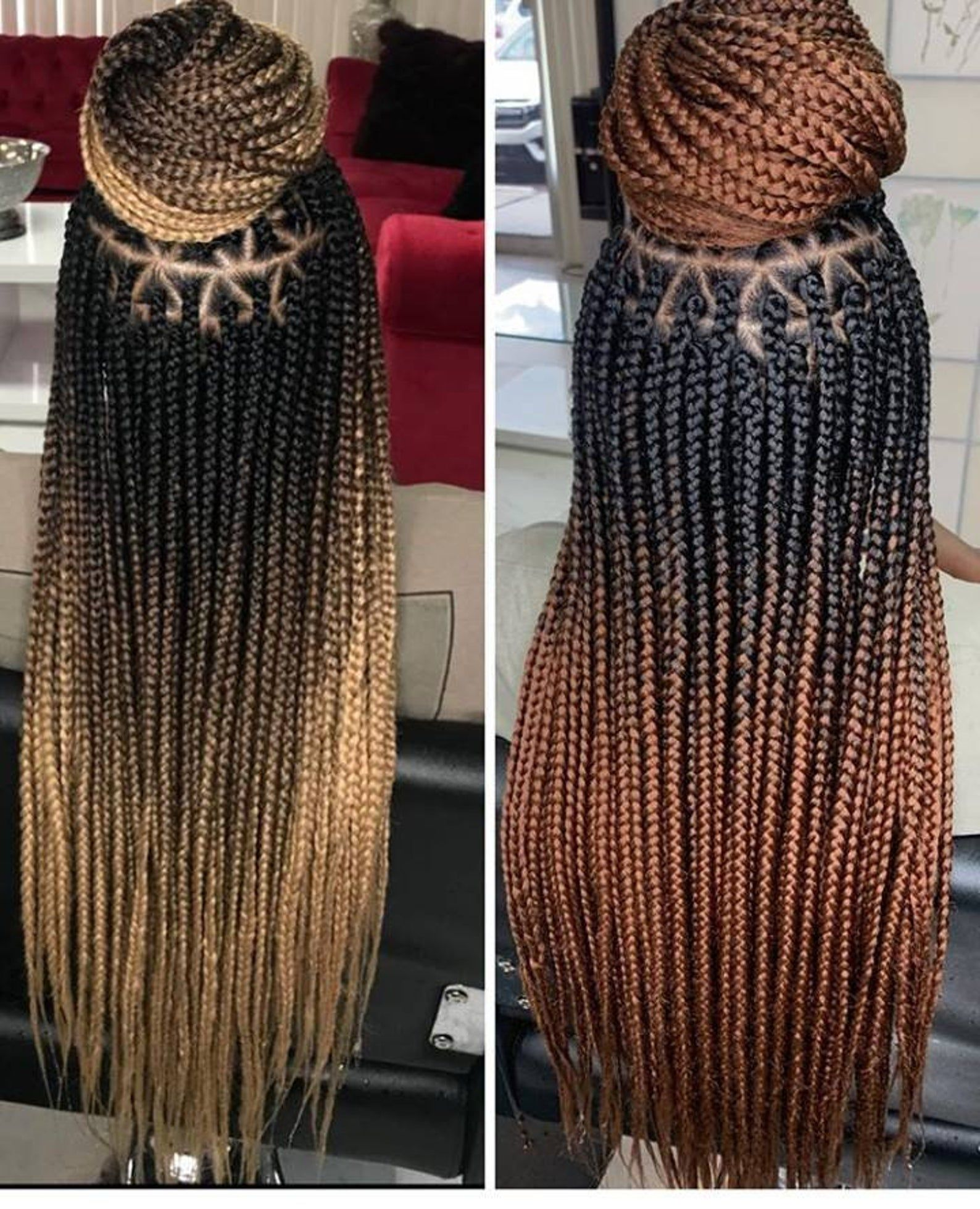 Triangle Parts Knotless Box Braids Wig For Black Women