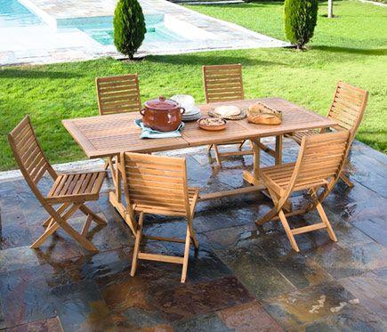 Conjunto Madera De Acacia Porto 150 210 Leroy Merlin Madera De Acacia Muebles De Teca Decoracion De Exteriores