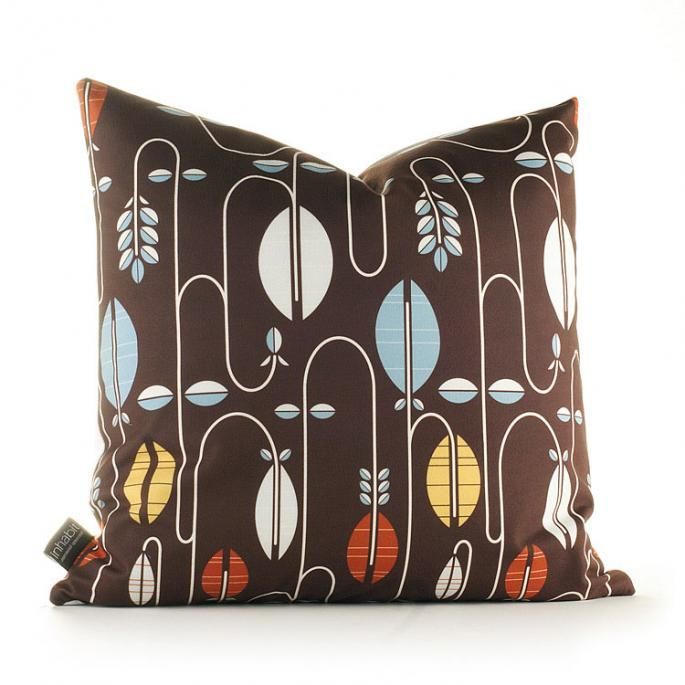 Carnival in Chocolate and Cornflower Pillow - Your source for Inhabit products, modern bedding, pillows, wall art, Wall Flats, duvet covers, & sheeting. Modern Furnishings | 3D Decorative Wall Panels | Wall Tiles | Wall Decor | Modern Bedding | Rugs | Lighting | Pillows | Wall Flats