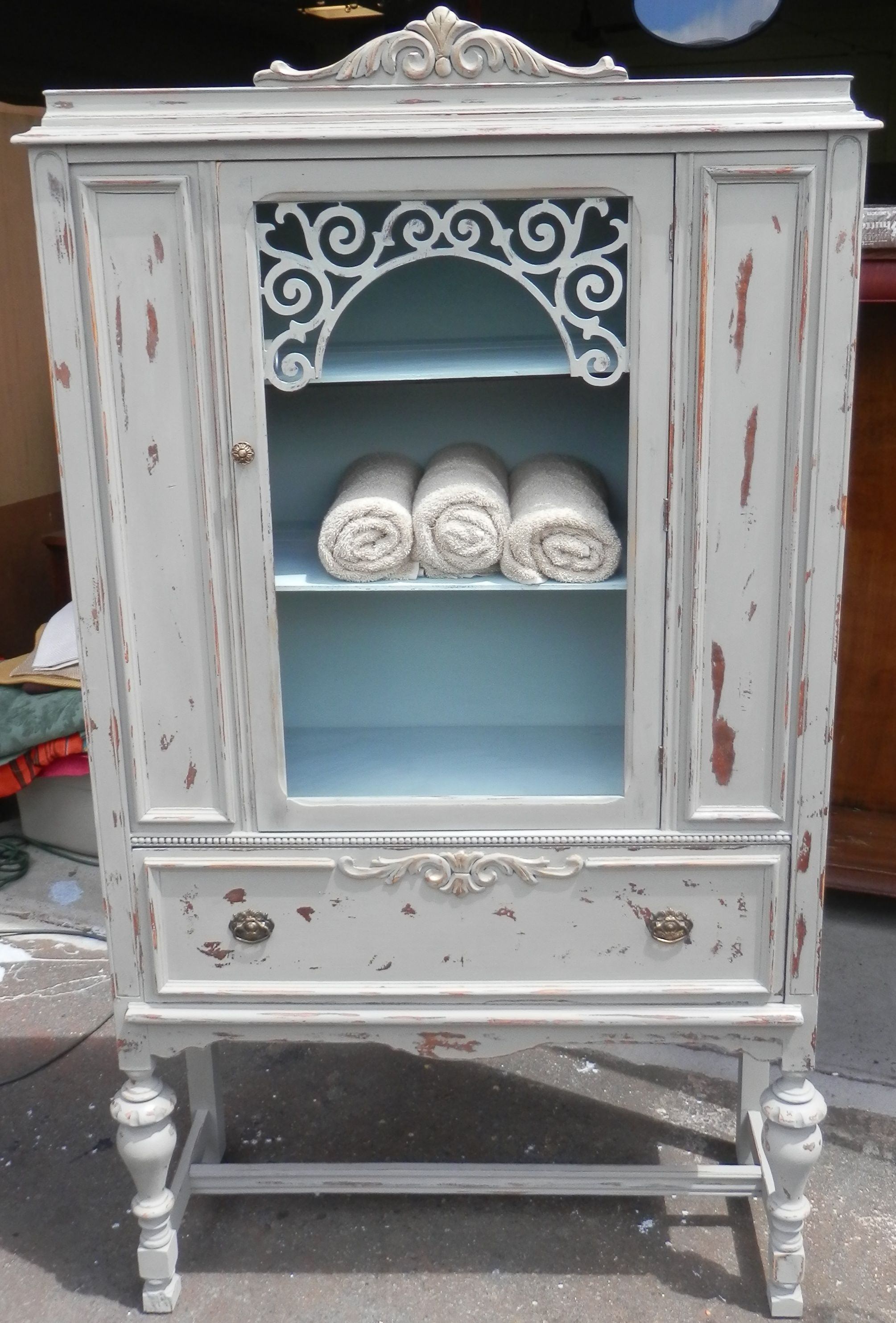 Vintage Depression China Cabinet Hand Painted With Ascp In