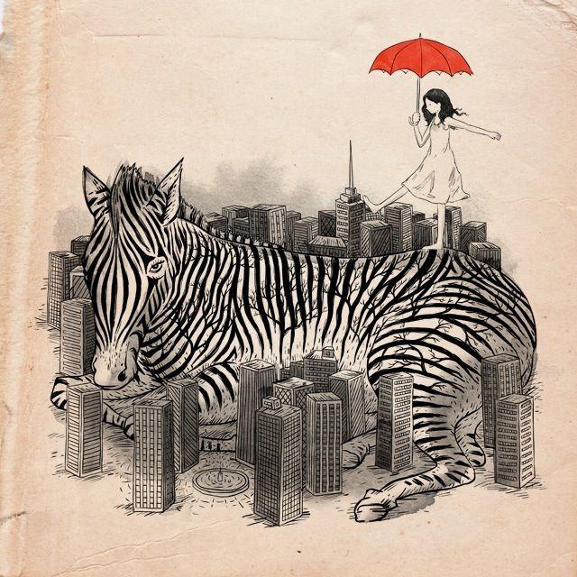 zebra in the city