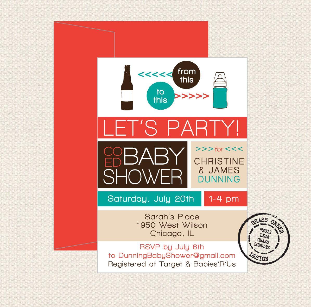 Co Ed Baby Shower Beer Bottle To Baby Bottle by grassgreendesign ...