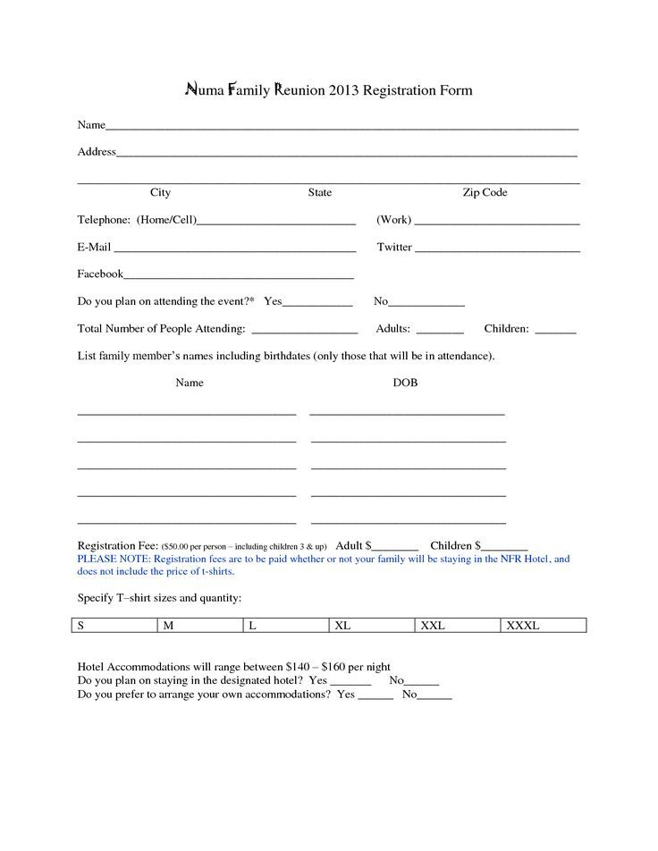 Family Reunion Registration Form Template family reunion - address change form template