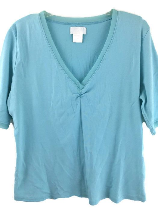 Soft Surroundings Top Womens Plus Size 1X Soft Stretchy Blue Cotton Chiffon Trim #SoftSurroundings #KnitTop #Casual