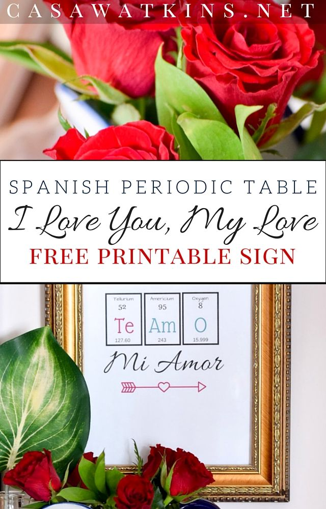Print This Free Spanish Love Sign Made With Periodic Table Elements!