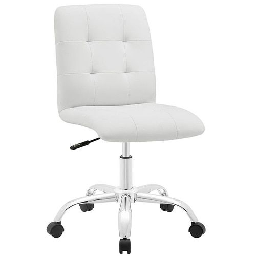 Prim Adjustable Swivel Armless Leather Mid Back Office Chair in White