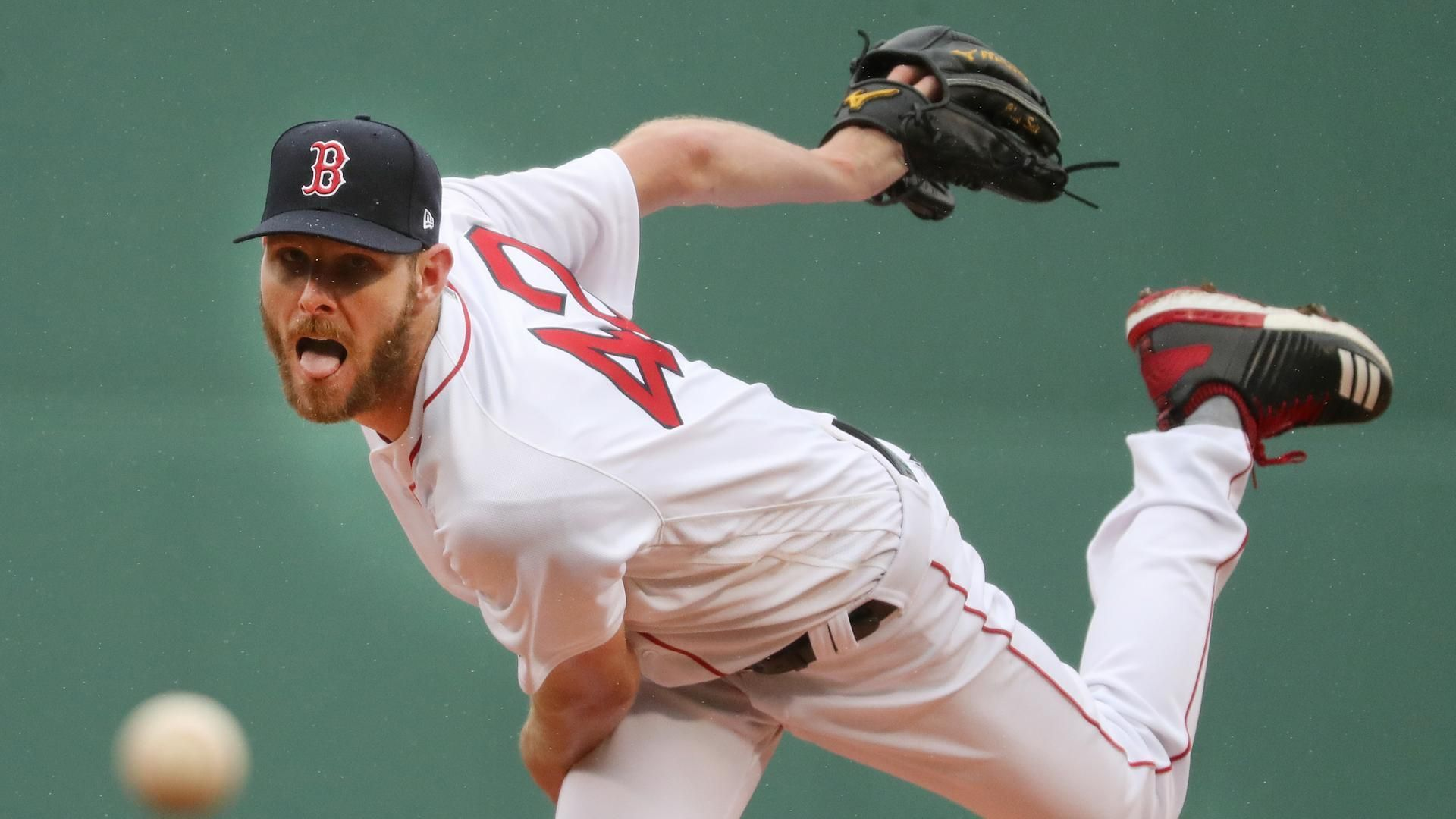 99ef1e75bcf Boston MA 4/14/18 Boston Red Sox starting pitcher Chris Sale delivers a  pitch against the Baltimore Orioles during first inning action at Fenway  Park (photo ...