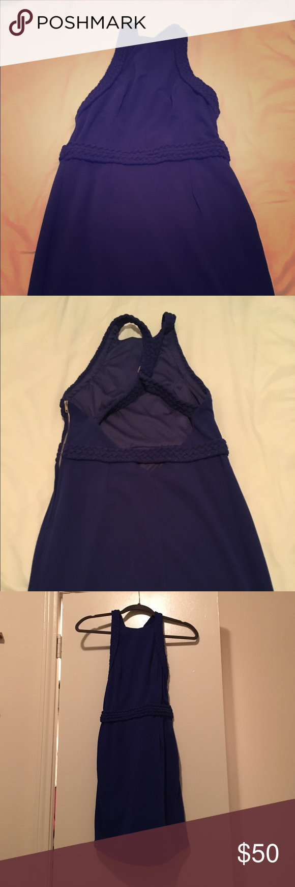 Royal blue dress I got this dress for a party but found another I liked better. It is a size 12 but from the Australian boutique Hello Molly so it fits differently then a US size 12- more like an 8. It's royal blue- stretchy material but it does have a side zipper! NEVER WORN! Dresses Mini