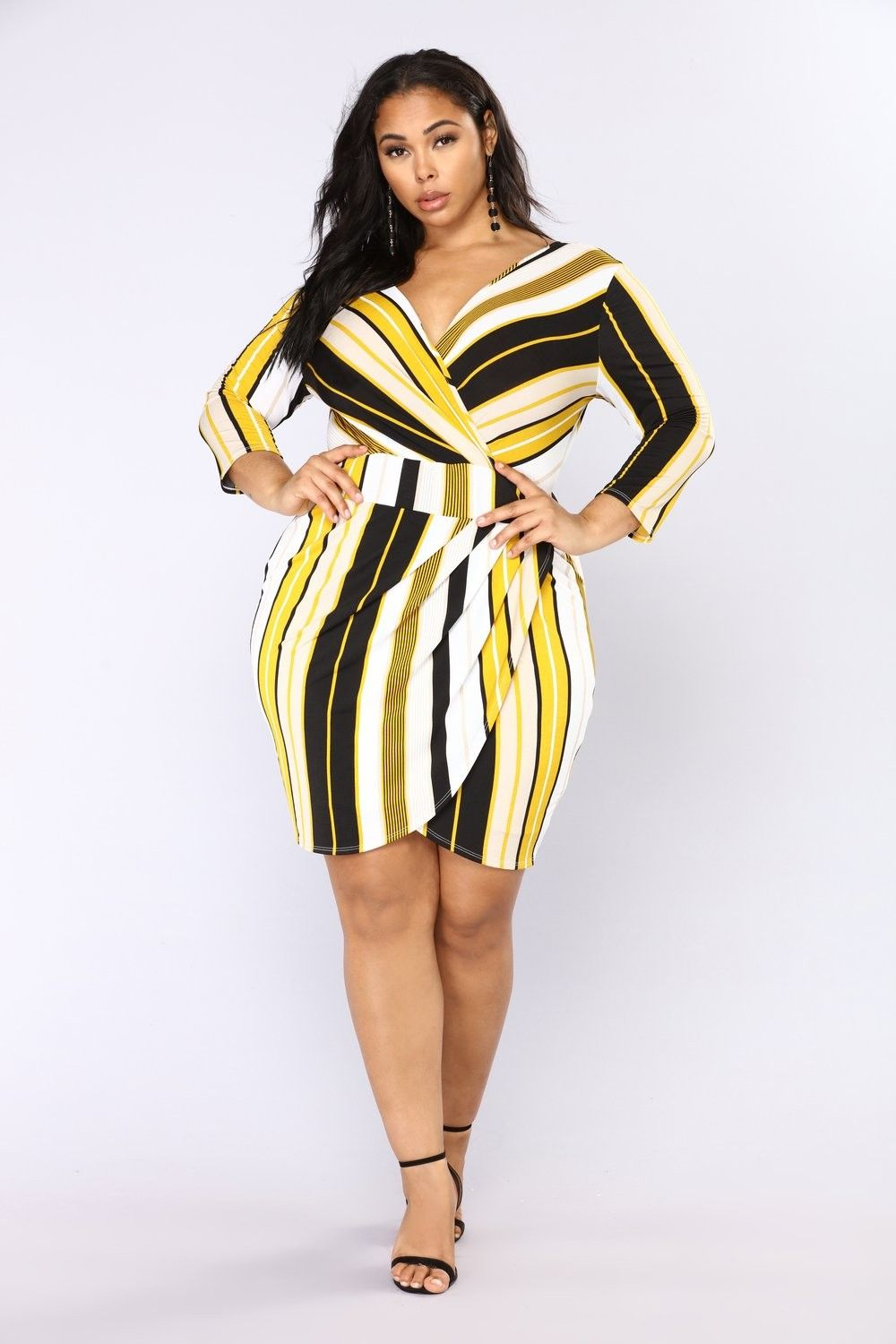 ca2c3c284 Plus Size Mayra Striped Midi Dress - Mustard Multi  29.99  fashion  ootd   outfit