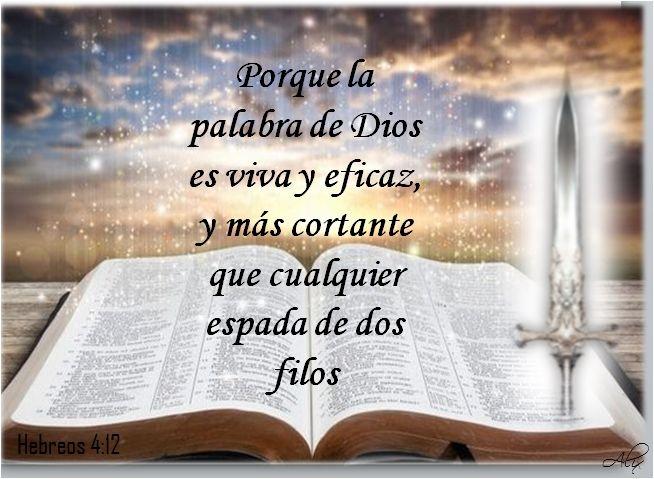 εїз Hebreos 4 12 Porque La Palabra De Dios Es Viva Y Eficaz Y Más Cortante Que Cualquier Espada De Dos Fi Palabra De Dios Palabras Verdaderas Dios Nos Cuida