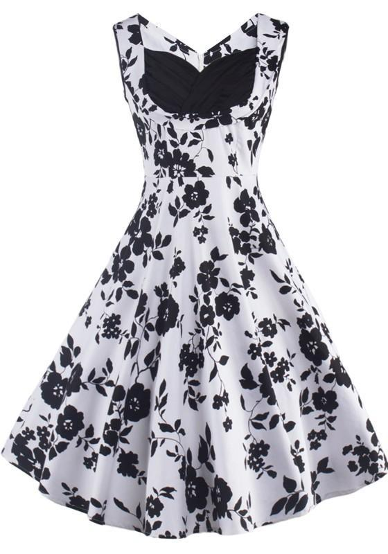 aaca0209734ed Black Floral Print V-neck Sleeveless Knee Length Vintage Midi Dress ...