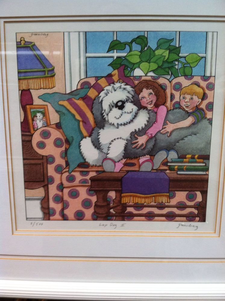"""Framed Lithograph Hand Signed by Frances Greenberg """"Lap Dog II"""" 8/500"""