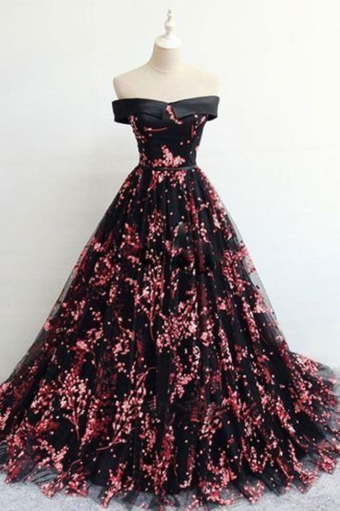 Floral Print Black Off the Shoulder Lace Appliques Prom Dresses with Lace up 13