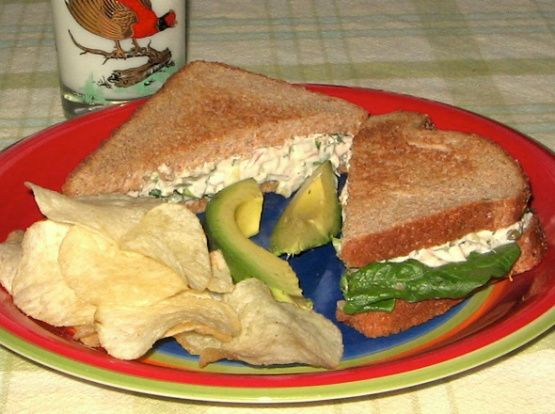 My recipe for Albacore tuna salad. NOTE: Recipe requires one large 12-ounce can solid white Albacore tuna.