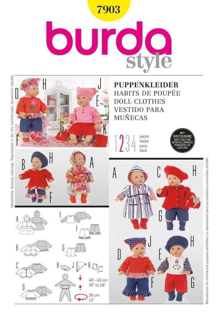 Details zu Burda Nähmuster Puppe Kleidung 7 Gewebe 7903 | Burda ...