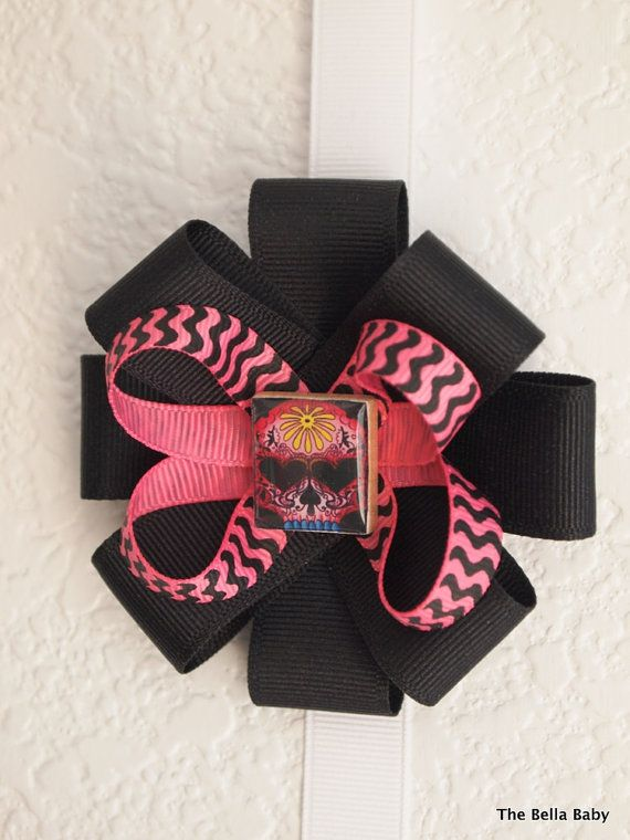 The Bella Baby Sugar Skull Day of The Dead Black by BellaBabyBows, $7.00