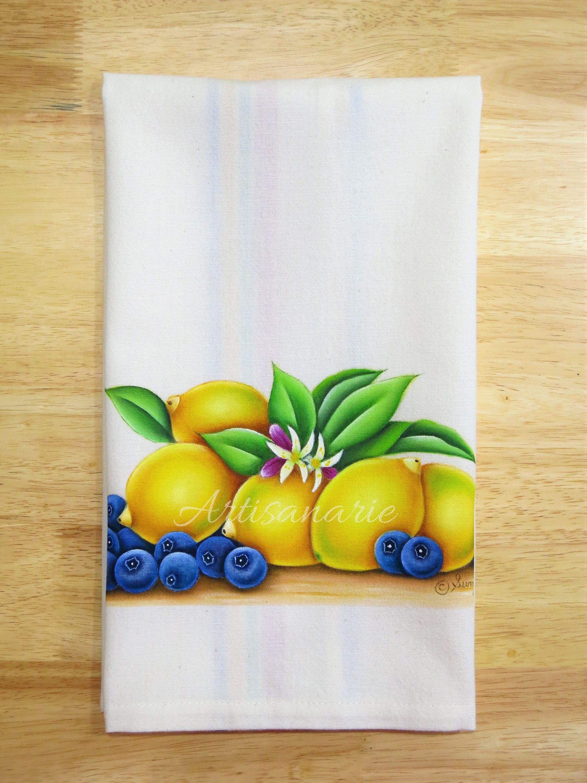 Lemon kitchen towel lemon blueberry tea towel citrus kitchen decor lemon kitchen decor hand painted kitchen towel gourmet gift by artisanarie on