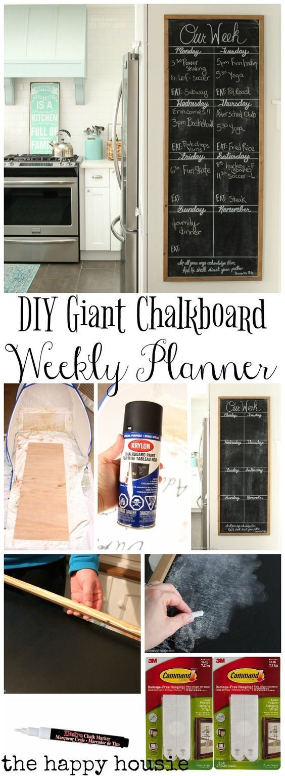 DIY Giant Chalkboard Kitchen Weekly Planner | Diy kids ...