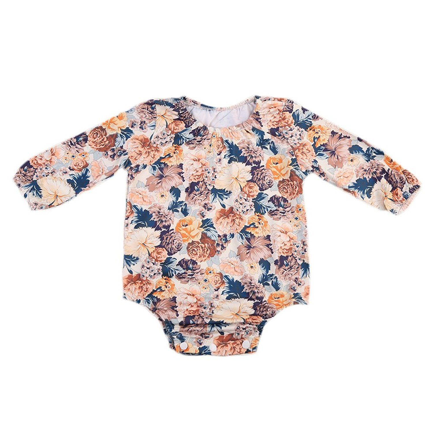 GSHOOTS Baby Girls Long Sleeve Floral Romper Bodysuit Autumn Outfit