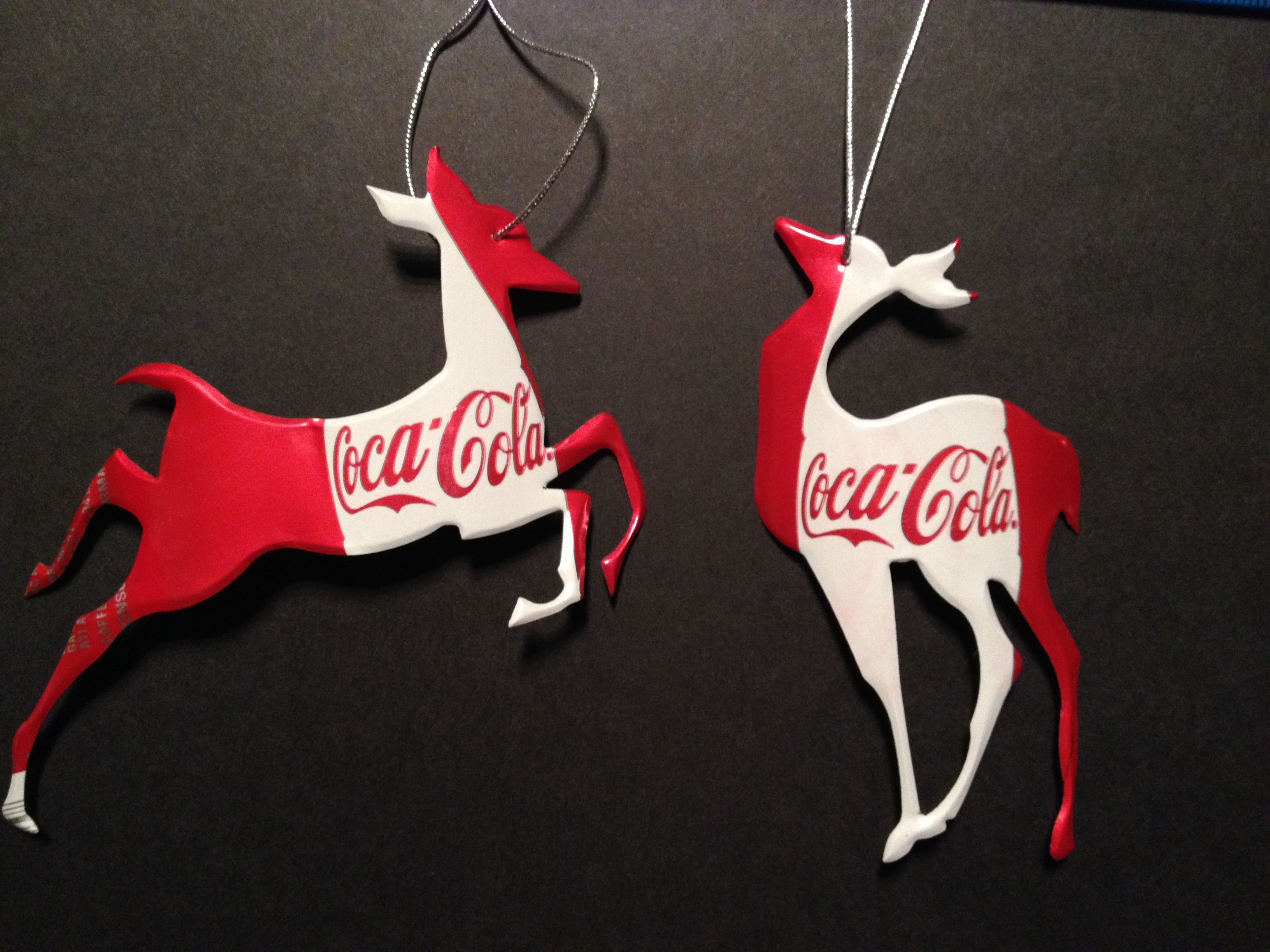 Recycled Christmas Ornaments made from Aluminum cans Coca Cola
