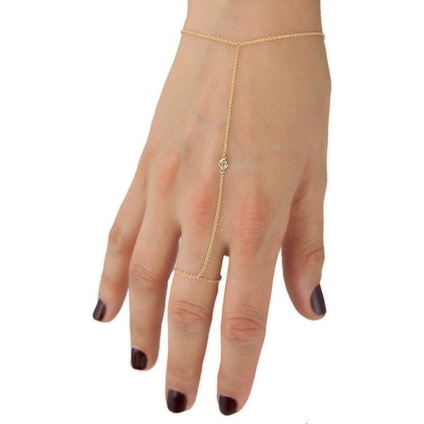 Anne Sisteron  14KT Yellow Gold Diamond Solitaire Hand Chain ($385) ❤ liked on Polyvore featuring jewelry, gold, gold diamond jewelry, diamond jewelry, gold chain jewelry, gold jewellery and hand chain jewelry