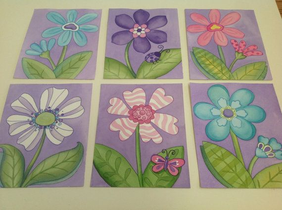 Lavender purple turquoise flower baby girl nursery wall art set of 6
