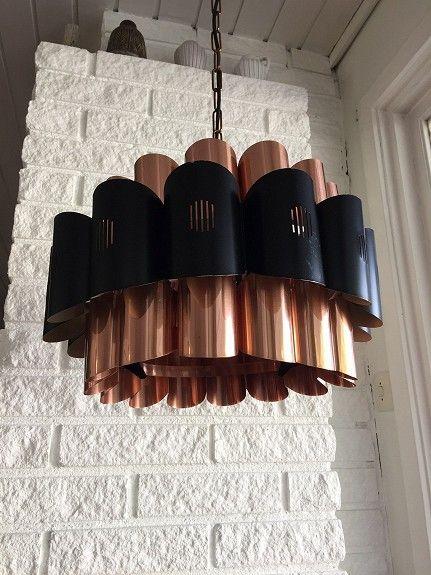 Retro ceiling in copper finish and blak metal, Norwegian.