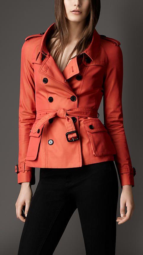 Oversize Collar Cotton Gabardine Jacket