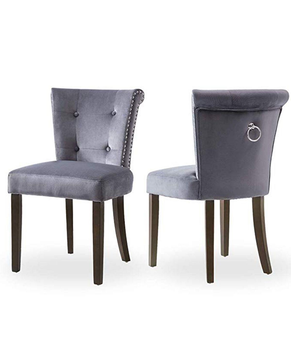 Best Harper Bright Designs Dining Chair Set Of 2 Dark Gray 640 x 480