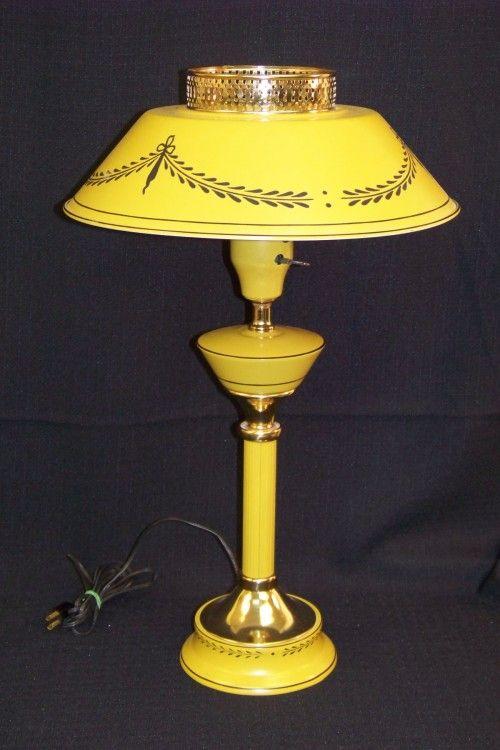 Vintage Yellow Tole Lamp Metal Lamp Vintage Lamps Vintage Yellow