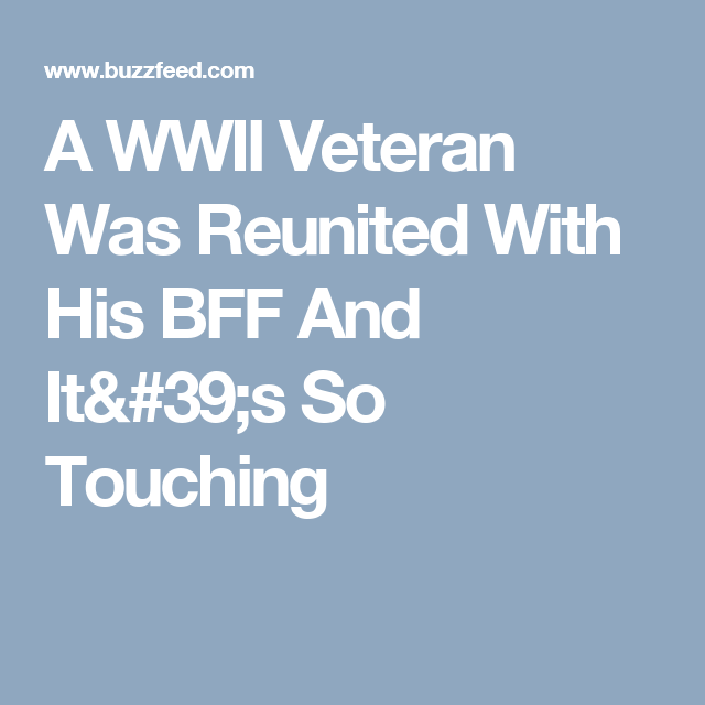 A WWII Veteran Was Reunited With His BFF And It's So Touching