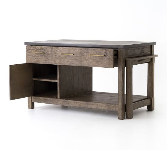 Elworth Kitchen Island Antique Gray Furniture Bar Carts