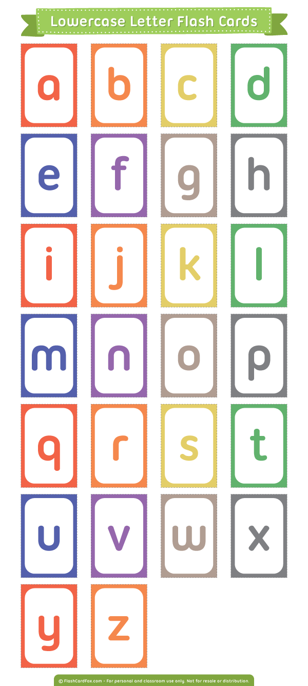 Free printable lowercase letter flash cards download them for Flash cards alphabet letters