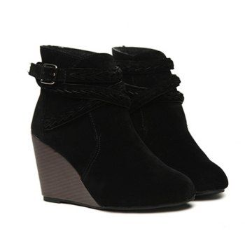 Stylish Style Casual Weaving and Solid Color Design Women's Short Boots