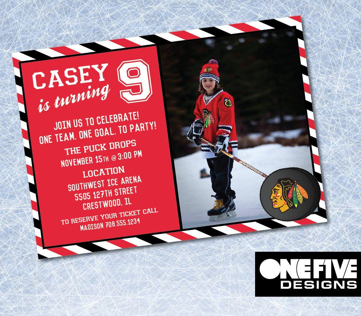 Chicago Blackhawks Hockey Birthday Invitation - Printable (5x7 ...