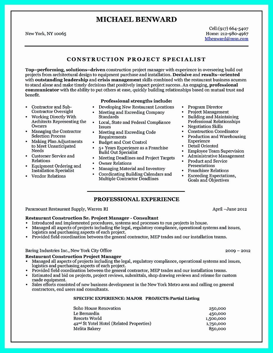 Construction Project Manager Resume Awesome Cool Construction Project Manager Resume To Get Applied