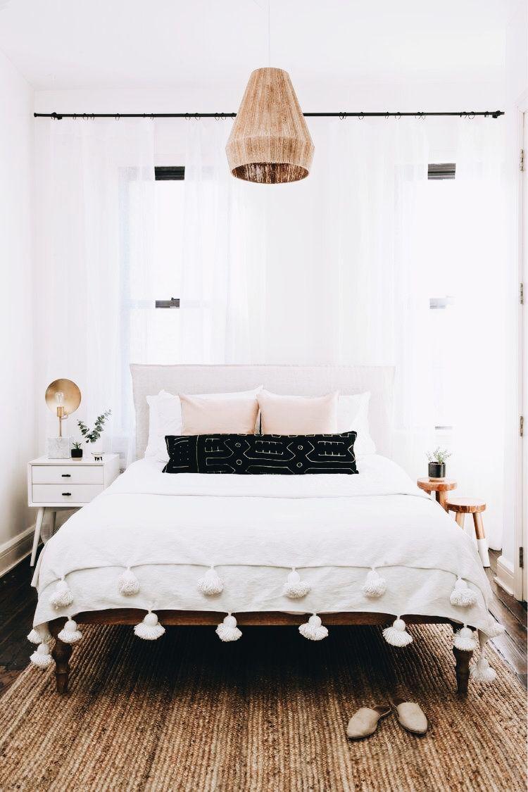 modern boho bedroom with rattan pendant #boho # ... on Modern Boho Bedroom  id=28515