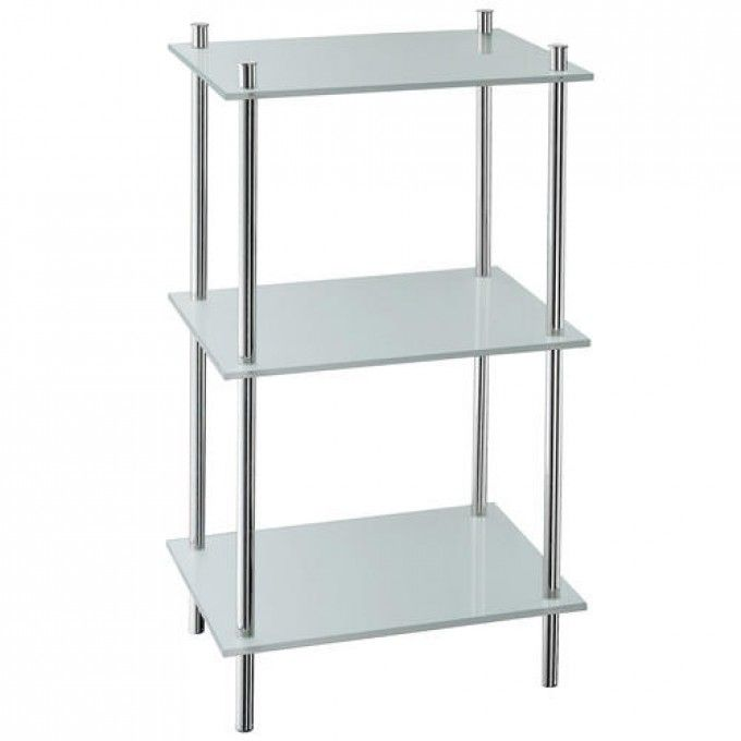 Bon Outline Collection Bathroom Shelf   Three Shelves   Polished Chrome