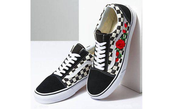 half off 8d79d ed9e0 Custom embroidered, Vans custom sneakers, floral sneakers, Womens sneakers,  flower Vans, red rose Va