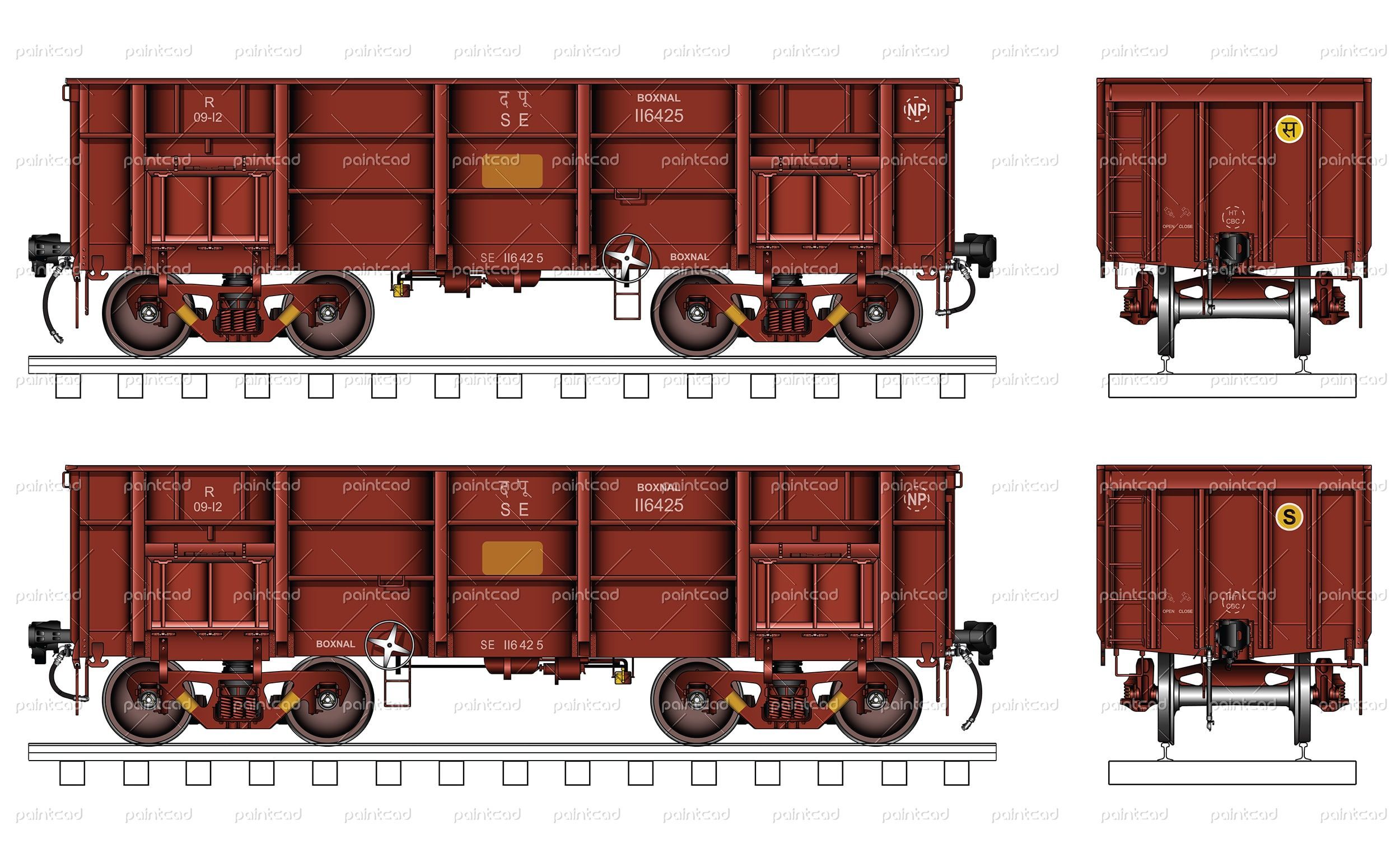 "Vector illustration of bogie open wagon type ""BOXNAL"" used"