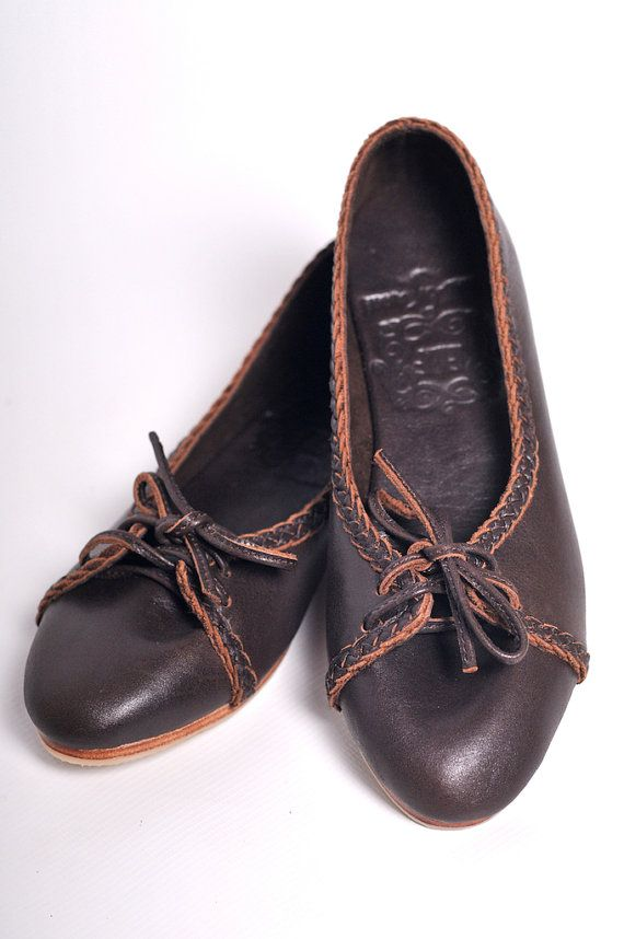 c036e81942191 SASHA. Brown leather ballet flats / leather loafers / brown leather ...