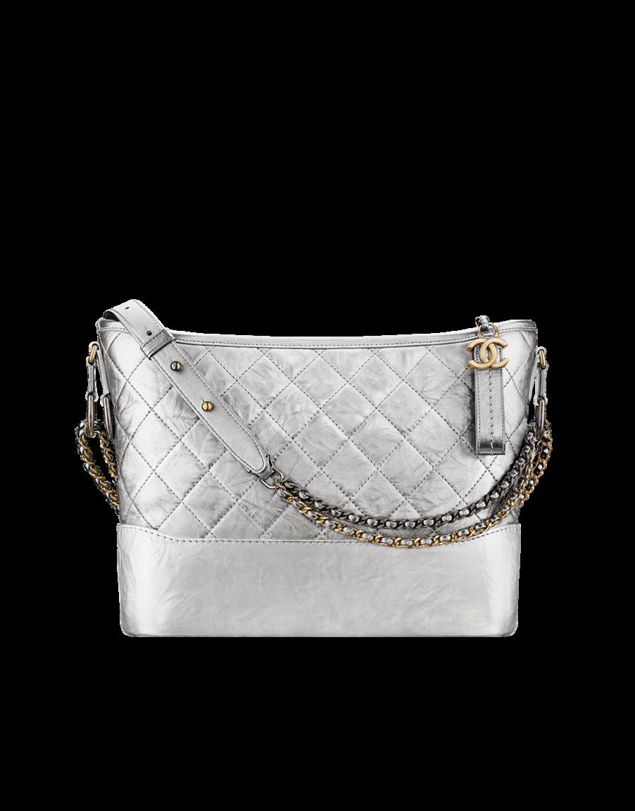 4387d7179688 CHANEL's GABRIELLE hobo bag, crumpled metallic calfskin, ruthenium-tone &  gold-tone metal-silver - CHANEL