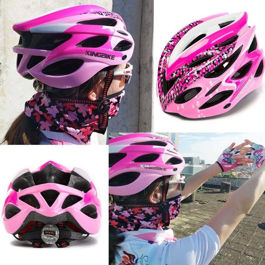 Kingbike Cycling Pink Helmet With Back Light Bike Ultralight Women