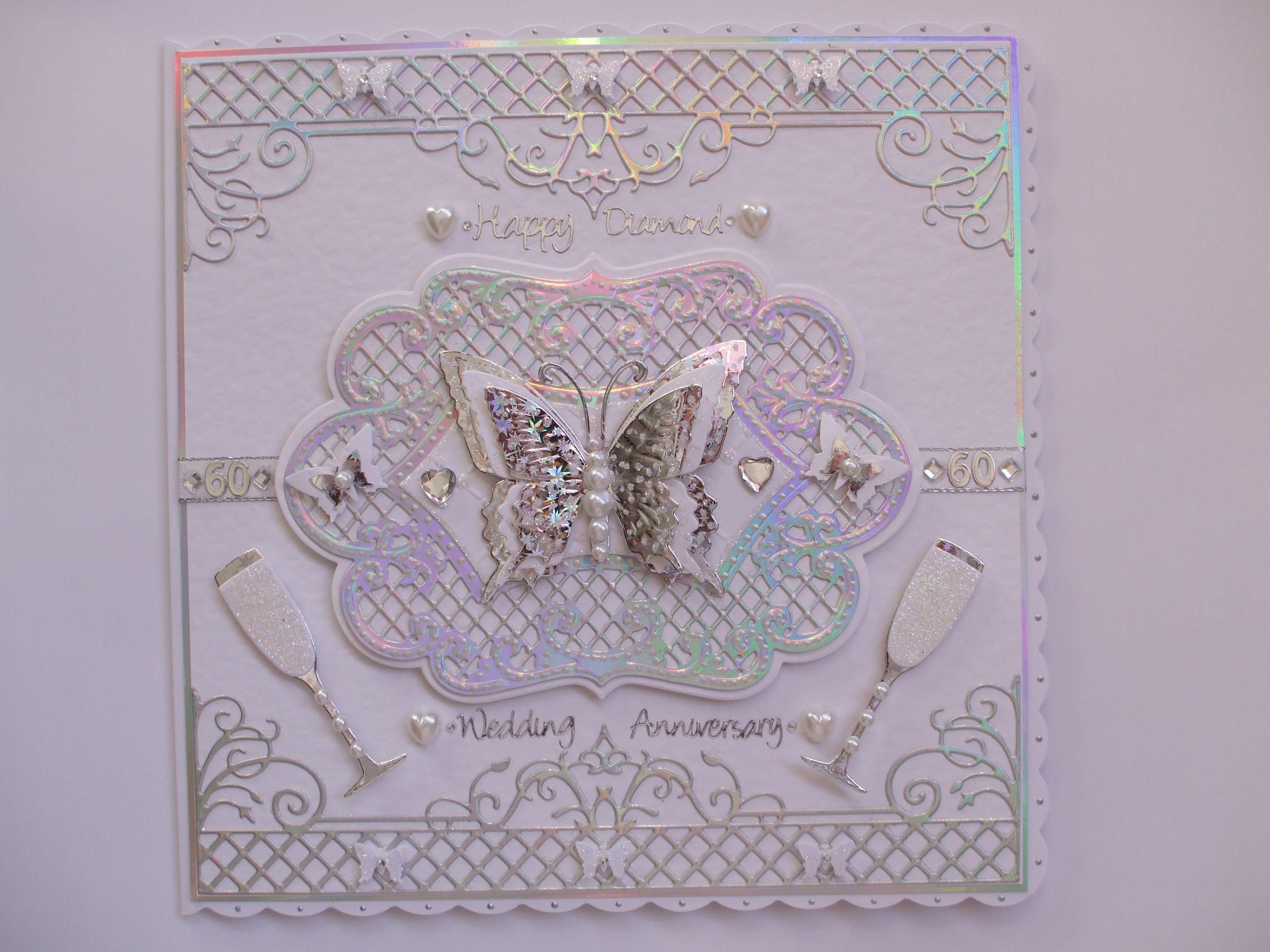 Handmade diamond wedding anniversary card cardpapercraftheartart