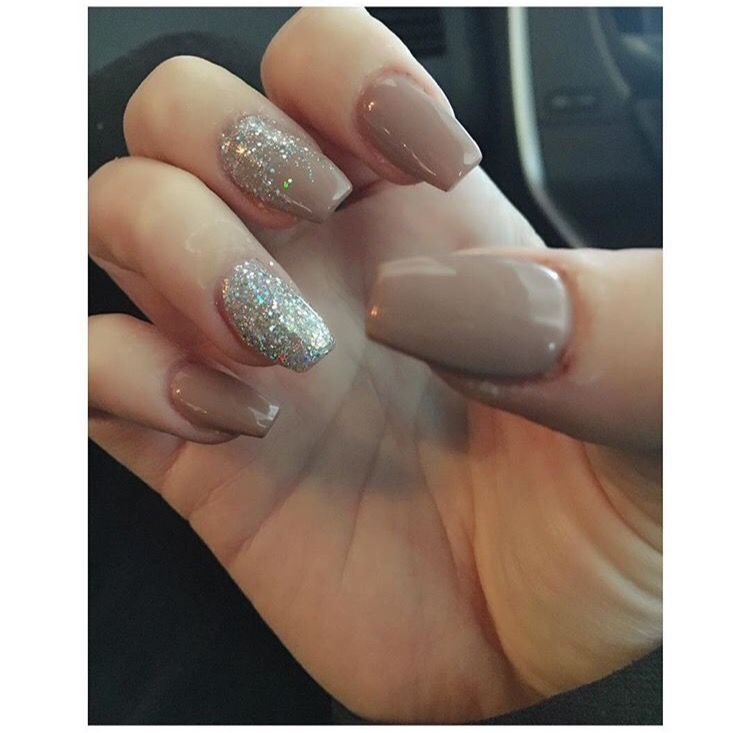 Acrylic Gel Polish Beige With Silver Sparkle Ring Finger Accent And Middle Waterfall Affect