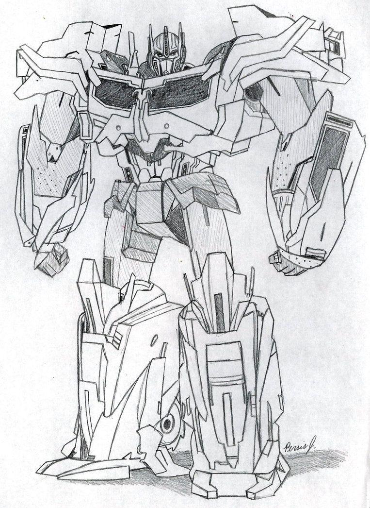 Optimus Prime Full Body Sketch By Pdj004 Optimus Prime