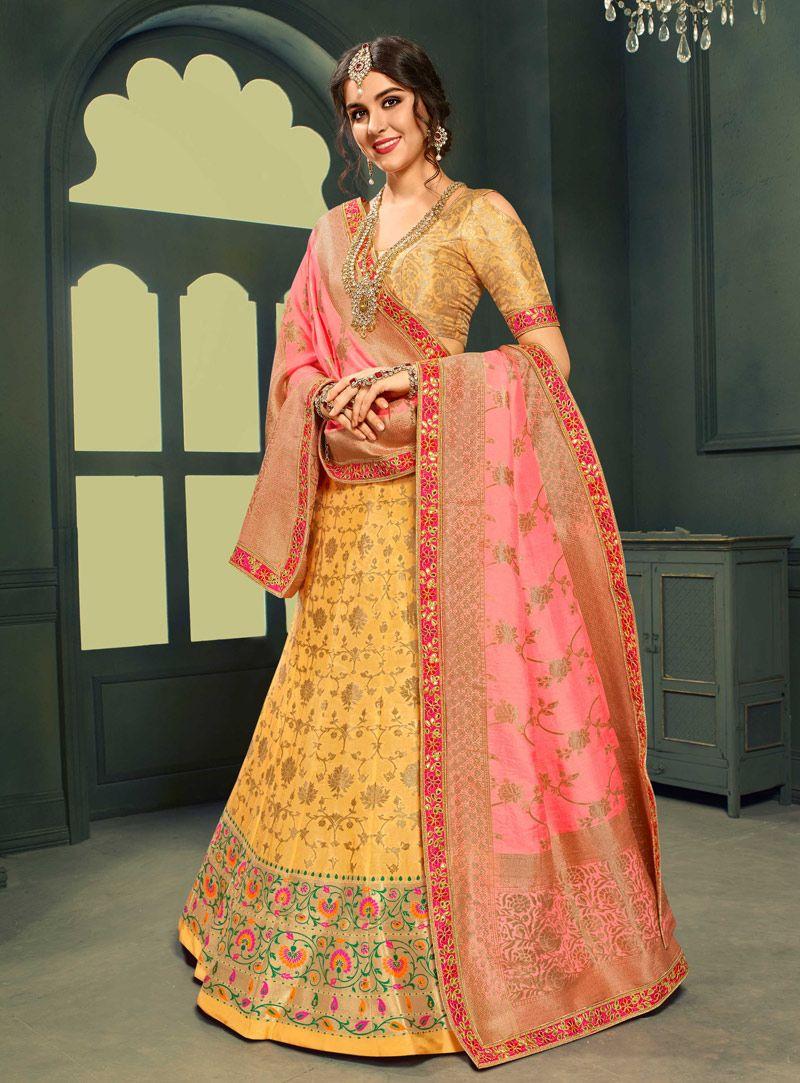6ede07e30b Buy Yellow Silk Circular Lehenga Choli 144932 online at best price from  vast collection of Lehenga Choli and Chaniya Choli at Indianclothstore.com.