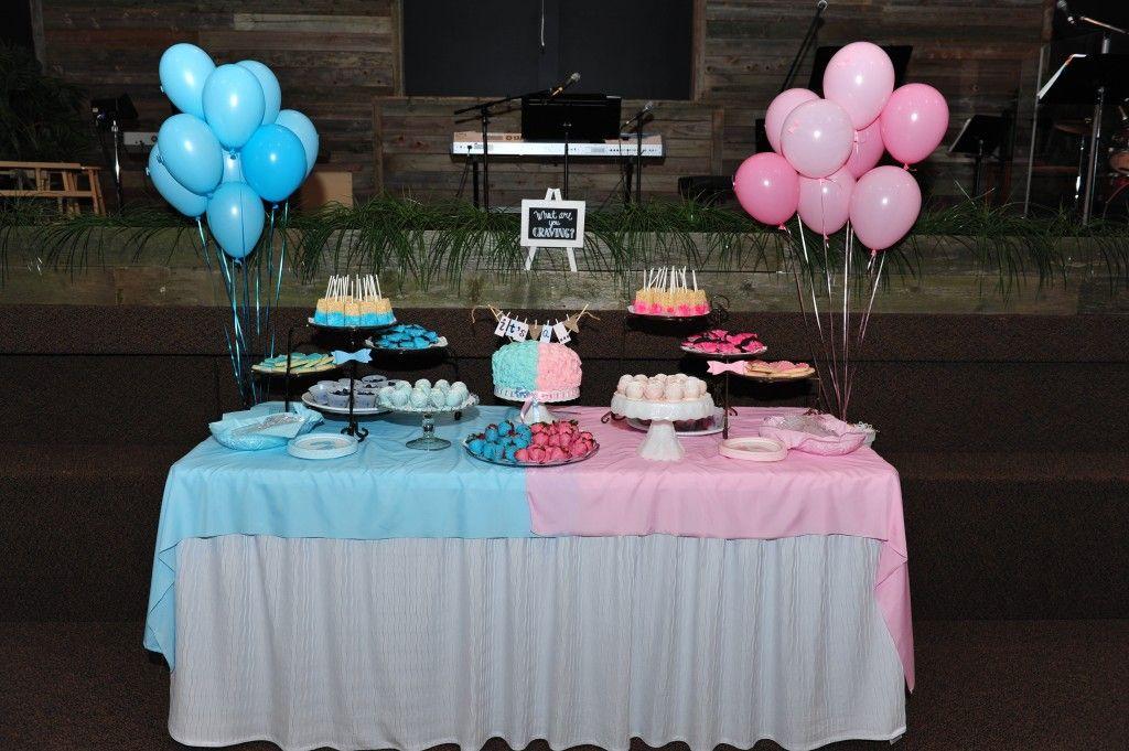 Gender reveal dessert table Gender reveal decorations